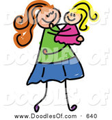 Vector Clipart of a Doodled White Mom Carrying Her Daughter by Prawny