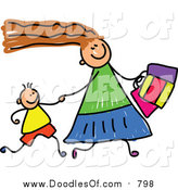 Vector Clipart of a Doodled White Mom Shopping with Her Son by Prawny