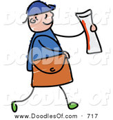 Vector Clipart of a Doodled White Paper Boy Holding a Newspaper by Prawny
