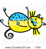 Vector Clipart of a Doodled Yellow and Blue Cat Resting by Prawny