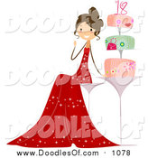 Vector Clipart of a Eighteen Year Old Girl Sitting by Her Cake at a Party by BNP Design Studio