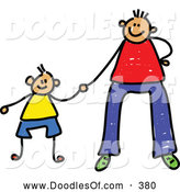 Vector Clipart of a Father Holding Hands with His Son on Father by Prawny