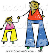 Vector Clipart of a Father Holding Hands with His Son on White by Prawny