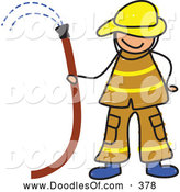 Vector Clipart of a Fireman Holding a Hose and Smiling by Prawny