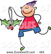 Vector Clipart of a Friendly Boy with a Holly Ornament by Prawny