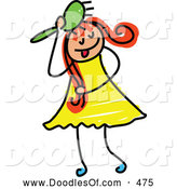 Vector Clipart of a Friendly Girl Brushing Her Hair by Prawny