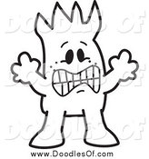 Vector Clipart of a Frightened Doodled Squiggle Guy by Toons4Biz