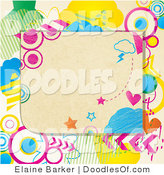 Vector Clipart of a Funky Colorful Doodle Frame by Elaineitalia