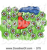 Vector Clipart of a Girl in a Field of Daisies and Flowers by Prawny