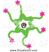 Vector Clipart of a Green and Pink Starry Germ Doodle by Prawny