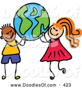 Vector Clipart of a Grinning Boy and a Girl Carrying a Globe by Prawny
