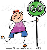 Vector Clipart of a Grinning Boy Walking with a Go Sign by Prawny