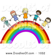 Vector Clipart of a Group of Doodled Kids Holding Hands on a Rainbow by BNP Design Studio