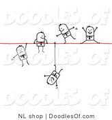 Vector Clipart of a Group of Stick Figure People Business Men Walking, Falling and Hanging on a Wire by NL Shop