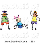 Vector Clipart of a Group of Three Friendly Kids by Prawny