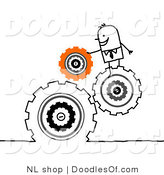 Vector Clipart of a Handy Stick Person Business Man Directing Turning Gears by NL Shop