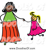 Vector Clipart of a Happy Adoptive Mom Holding Hand with Her Blond Daughter by Prawny