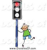 December 30th, 2014: Vector Clipart of a Happy Blond Haired White Doodled Boy by a Red Traffic Light by Prawny
