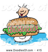 Vector Clipart of a Happy Boy Holding a Giant Ham Sandwich by Prawny