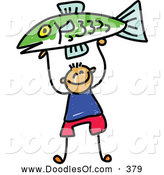 Vector Clipart of a Happy Boy Holding up a Fish by Prawny