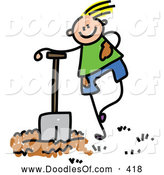 Vector Clipart of a Happy Boy Leaning on a Shovel by Prawny