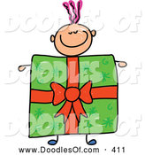 Vector Clipart of a Happy Boy with a Present Body by Prawny