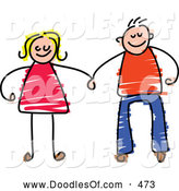Vector Clipart of a Happy Couple Holding Hands on White by Prawny