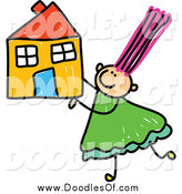 Vector Clipart of a Happy Doodle Girl Holding a House by Prawny