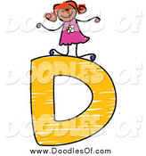 Vector Clipart of a Happy Doodled Black Stick Girl on a Capital Letter D by Prawny