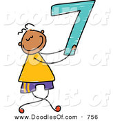Vector Clipart of a Happy Doodled Boy Holding the Number 7 by Prawny