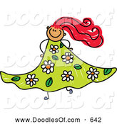 Vector Clipart of a Happy Doodled Red Haired Girl in a Floral Dress by Prawny