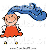 Vector Clipart of a Happy Doodled White Girl with Blue Hair by Prawny
