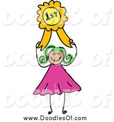 Vector Clipart of a Happy Green Haired Doodled Girl Holding a First Place Ribbon by Prawny