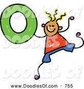 Vector Clipart of a Happy Stick Boy Holding the Number 0 by Prawny