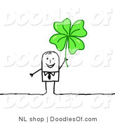 Vector Clipart of a Happy Stick Figure Person Business Man Holding up a Clover by NL Shop