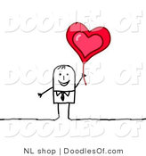 Vector Clipart of a Happy Stick Figure Person Business Man Holding up a Heart Balloon by NL Shop