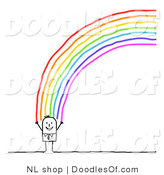 Vector Clipart of a Happy Stick Figure Person Man Standing at the End of a Rainbow by NL Shop