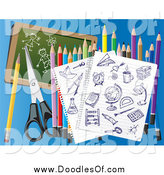 Vector Clipart of a Ink Doodles on Ruled Paper with Colored Pencils Scissors and a Chalkboard on Blue by Eugene