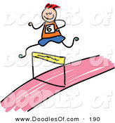 Vector Clipart of a Kid's Sketch of a Boy Leaping a Hurdle by Prawny