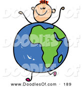 Vector Clipart of a Kid's Sketch of a Happy Boy with an African Globe Body by Prawny