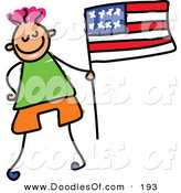 Vector Clipart of a Kid's Sketch of Little Boy with an American Flag by Prawny