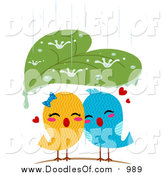 July 12nd, 2016: Vector Clipart of a Leaf Sheltering Love Birds from the Rain by BNP Design Studio