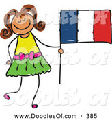 Vector Clipart of a Little Girl Holding a Striped French Flag by Prawny