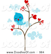 March 15th, 2016: Vector Clipart of a Lonely Blue Bird in a Heart Tree by BNP Design Studio