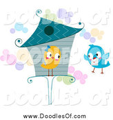 Vector Clipart of a Love Bird at a House, Receiving a Letter by BNP Design Studio