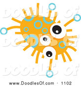 Vector Clipart of a Orange Germ Doodle with Three Eyes by Prawny