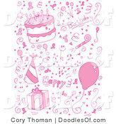 Vector Clipart of a Pink Birthday Collage of Doodles for a Girl by Cory Thoman