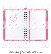 Vector Clipart of a Pink Day Planner with a Heart and Arrow Love Sketch by MilsiArt
