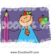 Vector Clipart of a Proud Doodled School Boy Holding an Apple and Pencil by Prawny