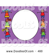 Vector Clipart of a Purple and White Frame with Six Kids by Prawny